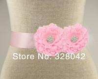 Min order 1 pcs pink fabric peony flower sash Belt  Wedding bridesmaid sash girl sash Maternity sash belt girls accessories