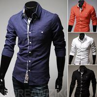 2014 Cotton Prints Color Block Unique Casual Linen Fabric Men's Clothing Shirts