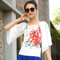 2014 Spring Summer New National Style Women Blouse Printing Slim Chiffon Blouses Shirt Tops Flare Sleeve Shirt