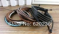 Men Women Unisex Multi thong braided thin Genuine Leather Bracelet for women wristband Jewelry Items 100pcs/lot