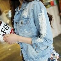 New 2014 Autumn Fashion Women Coat  Slim Jeans Jacket  Women  Frayed Rivets Denim Jacket  Female Jean Coat ,Drop Shipping W026
