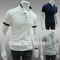 2014 HOT new Korea slim men's t shirts Stand Collar mens t shirts Casual short sleeve t shirt white 1114