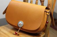 Leather handmade preppy style cross-body female cowhide vintage shoulder bag large