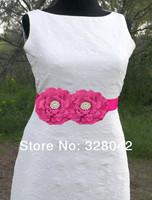 2014 new arrival fabric peony flower sash Belt  Wedding bridesmaid sash girl Maternity sash belt girls accessories 16pcs/lot