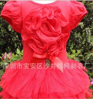 retail girls summer roses dress children  kids lovely clothing cute tutu dresses 4 colors