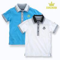 2014 New brand children t shirts boys t shirt turn-down collar 100% cotton short-sleeve free shipping