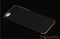 2014 Newest Taiga Luxury Leather Case Cover For Iphone 5/5S With Gold Frame and Silver Frame Free Shipping