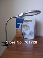 Bran New !Light  Lamp Magnifier Desk Table Magnifying Light 2 LED 2.25X 107MM 5X 22MM Glass Clip