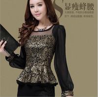 New tops & tees see through lace T Shirt fashion Karoen style women clothing 2014 camisetas women work wear slegant famous brand