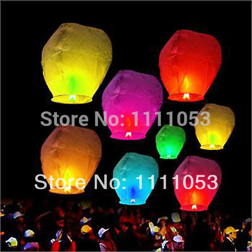 Free shipping 7 colors Chinese Sky Fire Kongming / Wishing Lanterns for Wish / Wedding / Birthday Party Sky lanterns(China (Mainland))