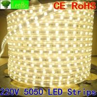 Flexible waterproof  5050 led Strip 20M/LOT 220V 60LEDs/M Red/Yellow/Blue/White warm white LED Light Strip +PLUG