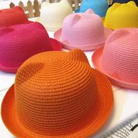 Retail Kids Cat Ears Straw Hat Beach Cap Summer Baby Solid Color Sun Hat Sunbonnet  (MC)