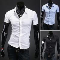 2014 Summer Asymmetrical Color Block Brief Male Short-Sleeve Shirts