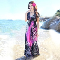 Hot sale Leopark sandbeach maxiskit   women Bohemian dress  V-Neck slim sleeve Summer seaside on necessities free shipping
