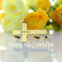 Customized Engraved Double Rings Personalized Cross With Lettering Rings Unique Name Gold Plated Rings