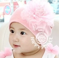 Gorgeous big flower baby ear protector cotton cap child knitted warm hat  (MC)