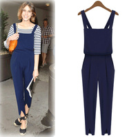 Free Shipping New Arrival Solid Women Jumpsuit Europe America Style Casual Rompers Overalls Preppy Style Ladies Bodysuit LBR9088