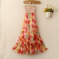Summer Women Top Fashion Bohemia Halter Strap Slim Summer Bright Color Flower Print Silk Chiffon Dress Beach Floral Dresses 514