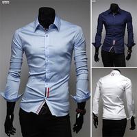 Men Casual  Color Buckle Ribbon Decoration Fashion Male Shirts