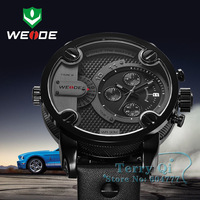 2014 WEIDE Oversized XXL Army Military Men Leather Band Analog Sport Wrist Watch  +Gift Box Free Ship