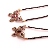 Necklace restoring ancient ways female south Korean leather cord brief paragraph crystal butterfly pendant necklace