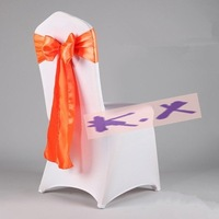 Our Own Products Lycra Spandex Chair Cover With Satin Chair Sash Orange Color