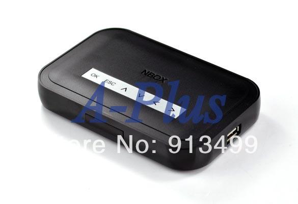 5pcs/lot NBOX RMVB RM MP3 AVI MPEG Divx HDD HD TV USB SD Card Media Flash Player Remote Black 4276(China (Mainland))