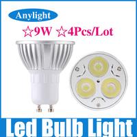 4Pcs/Lot 9W Gu10 dimmable 85-265v (110v/220v) CE Warm/Pure/Cold/White High Power LED Lamp/Spot lighting WSP05