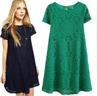 4colors  Spring/Summer dress Women Dress A-line Short Sleeve Novelty Lace Dress O-neck vestido de renda LBR816