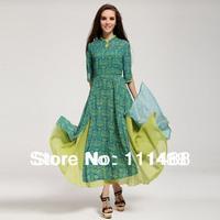 Women'S Winter Dress Casual Maxi Dress Three Quarter Sleeve O-Neck Chiffon Fashion Vestidos Long Dress
