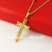 Africa Blacks Real 24K Yellow Gold Plated Necklaces ! Luxury Women Men Link Chain Lucky Cross Pendant Necklace A110 New Arrival