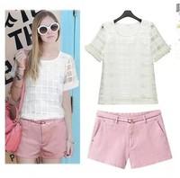 Europe Station Women Brief Organza Twinset High Street Plaid Shirts Crop Pink Shorts American Apparel 2014 Summer Ladies Set