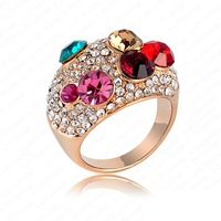 Fashion Wedding Rings Real 18K Gold Plating Multicolor Engagement Rings Pave Austrian Crystals Charm Wedding Jewelry  RZ063