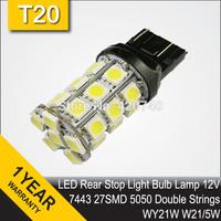 Free Shipping 2 x LED Car Brake Rear Stop Light Bulb Lamp WY21W W21/5W 7440 7443 T20 27SMD 5050 LED 360 Lighting