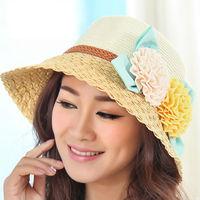 2014 New Hot Selling Women's Summer Folding Flower Sunbonnet Sea Beach Hat Outdoor Cycling Sunhat Cap Straw Hats Free Shipping