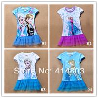 Ship in 7 days! 2014 new best-seller FROZEN sisters elsa anna Short sleeve lace dress nighties/95-140cm (4 styles) RETAIL