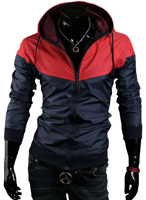 Free shipping, 2014 New style fashion men hooded coats casual Jacket Color matching men's windbreak jackets, 4 colors, MC118(China (Mainland))