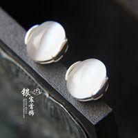 Silver LAOYINJIANG 925 pure silver stud earring accessories white - eye earring thai silver stud earring female  Free Shipping