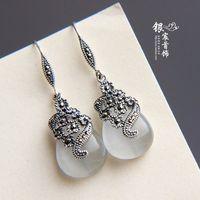 2014 Real Promotion Trendy Women None Water Drop The Spot Jewelry Laoyinjiang 925 Pure Drop Earring - Eye Earrings free Shipping