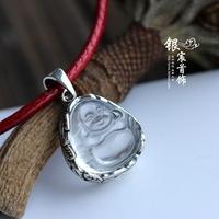 Silver jewelry LAOYINJIANG handmade white crystal pendant maitreya 925 pure silver pendant accessories  Free Shipping