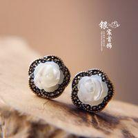 2014 Limited New Trendy Earings Earing Jewelry Anti-allergic Laoyinjiang 925 Pure Earring Thai Rose Stud Female free Shipping