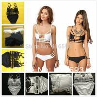 Hot Sexy White Caged Cut Out Strappy Swimsuit Womens Bikini Set Black Long Line Bathing Suit Padded Push Up Swimwear SML