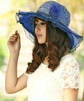 2014 New Hot Sales Women's Summer Anti VU Folding Satin Sunbonnet Sea Beach Hat Outdoor Sunhat Cap Lady Hats Free Shipping