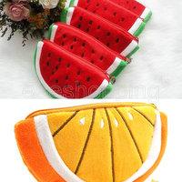 C-S231 10pcs/lot Wholesale NEW Creative Fruit Style Watermelon/Orange Change Wallet Coin Mobile Phone Bag Handbag Cluthes Zipper