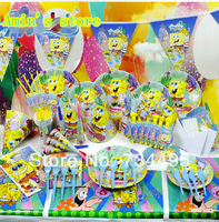 New 78pcs Luxury Kids Birthday Party Decoration Set cartoon SpongeBob Squarepants Theme Party Supplies Baby Birthday Party Pack