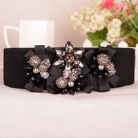 2014 New All-Macth Fashion Wide Belts Crystal Beads Cummerbund Female Cinto Feminino Ceinture Women Ladies Belts