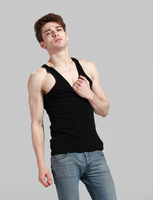 New Limited Fashion Woven Bamboo Fiber O-neck Short 2014 Men Vest Free Shipping Bamboo Fiber Round Neck , Eco-friendly Clothing