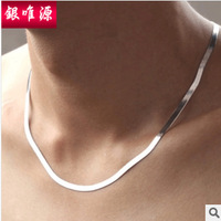 925 Sterling Silver necklace men women short paragraph clavicle chain blade flat snake bone chain silver jewelry men jewelry