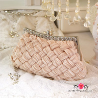 wedding bag women handbag beige criss-cross bridal rhinestone bag day clutches ladies evening/prom/party/shoulder/messenger bag