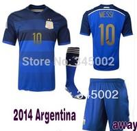#10 MESSI Argentina  Away Soccer (Jersey+short+sock) 2014 Full Set,2014-2015 football jersey with Socks